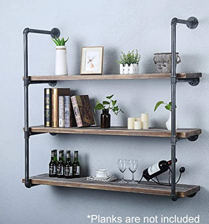 Industrial Retro Wall Mount iron Pipe Shelf,DIY Open Bookshelf,Hung  Bracket, DIY Storage Shelving,Home Improvement Kitchen Shelves,Tool Utility  ...