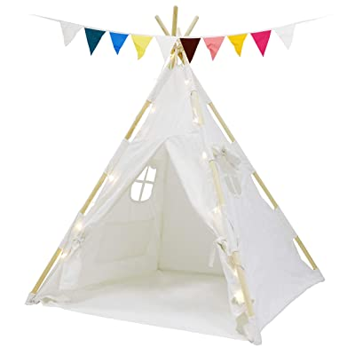 HomGarden Teepee Tent for Kids with Fairy Lights & Carry Case , Portable White Children Play Tents 100% Cotton Canvas for Girls and Boys Indoor Outdoor Playhouse Toys : Garden & Outdoor