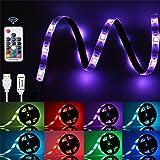 GLIME Ruban LED Lumieuse 2M IP65 6 Modes 20 Couleurs 5050 RGB Bande à LED Flexible Etanche à Télécommande USB Câble pour Déco Soirée Anniversaire Fête…