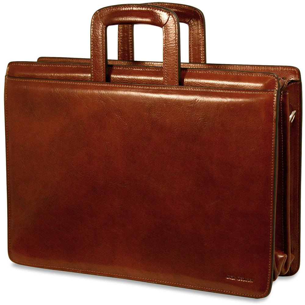 Jack Georges Mens Sienna Triple Gusset Top Zip Leather Briefcase in Cognac
