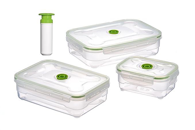 Vacuumsaver FLS5 Lot de 3boîtes sous vide rectangulaires avec pompe (600ml, 1,2l et 2l)