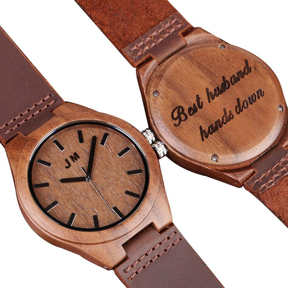 Personalized Groomsmen Watch Custom Engraved Wooden Watch Anniversary Gifts for Men Gift for Husband