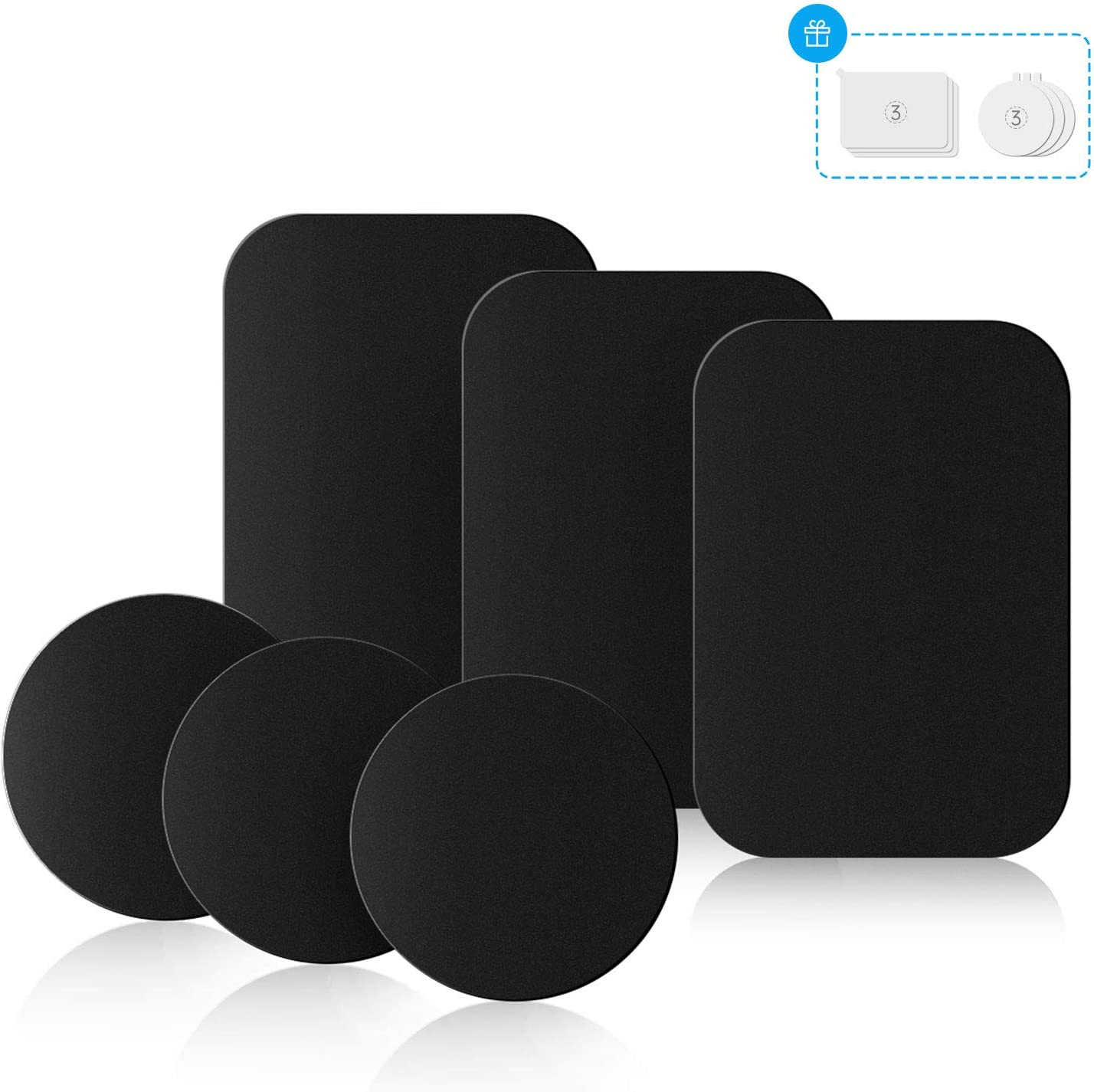 Mount Metal Plates with Protective Films 8 Black Metal Plates and 8 Clear Films 8 Pack Universal Metal Disc for Phone Magnetic Car Mount Replacement Sticker