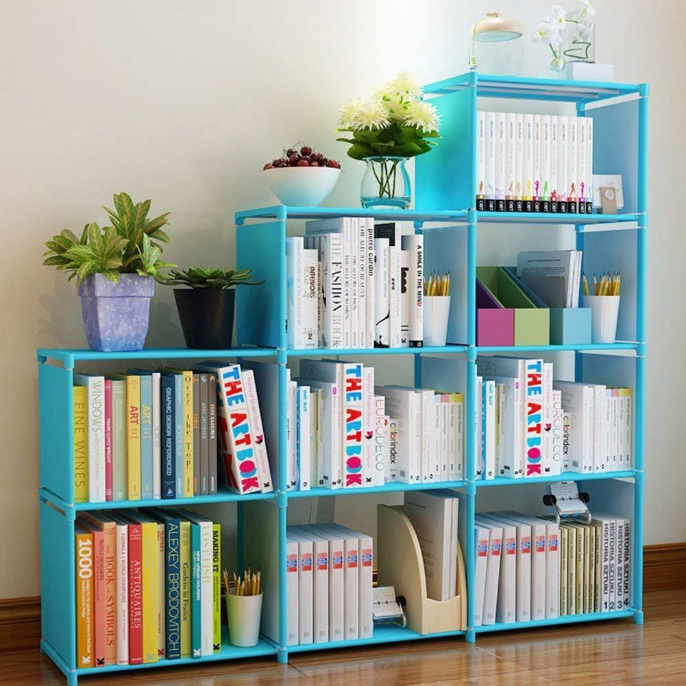 Hosmat 9-Cube DIY Children's Bookcase 30 inch Adjustable Bookshelf Organizer Shelves Unit, Folding Storage Shelves Unit (Blue_9 Cubes)