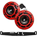 HELLA Supertone 12V High/Low Tone Twin Horn Kit with Perrin Bracket Compatible with 2008-14 Subaru WRX STI (Red)