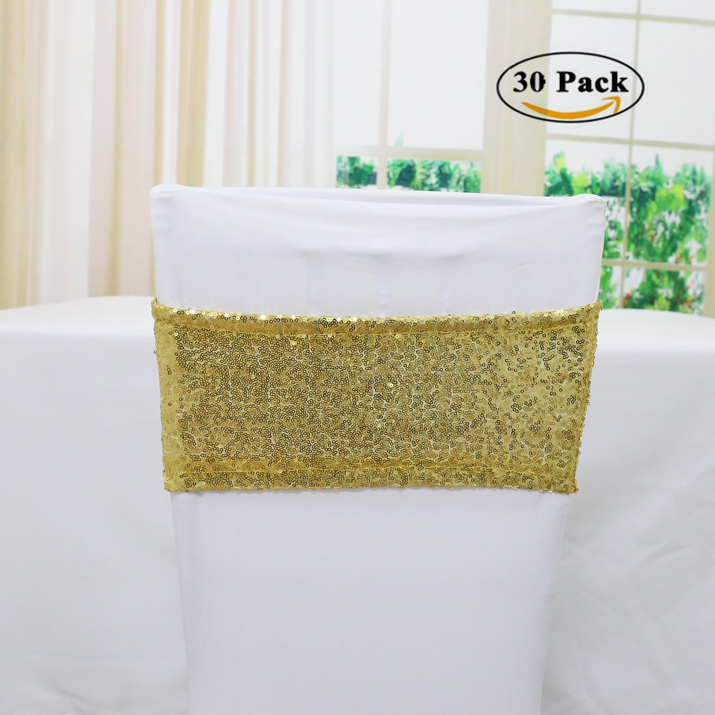 TRLYC 30PCS 4''x16'' Gold Spandex Sequin Chair Sashes Wedding Sequin Chair Sash for Decoration