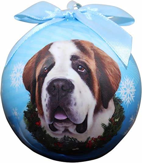 SAINT BERNARD smooth dog ANGEL Ornament HAND PAINTED resin FIGURINE Christmas
