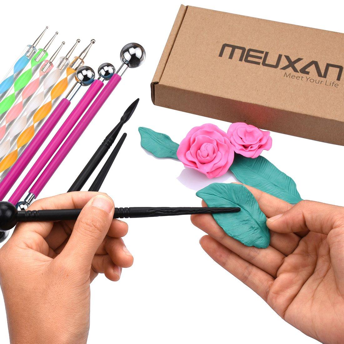 Clay Pottery Modeling Set Meuxan AL051 13 Piece Ball Stylus Dotting Tools Rock Painting Kit