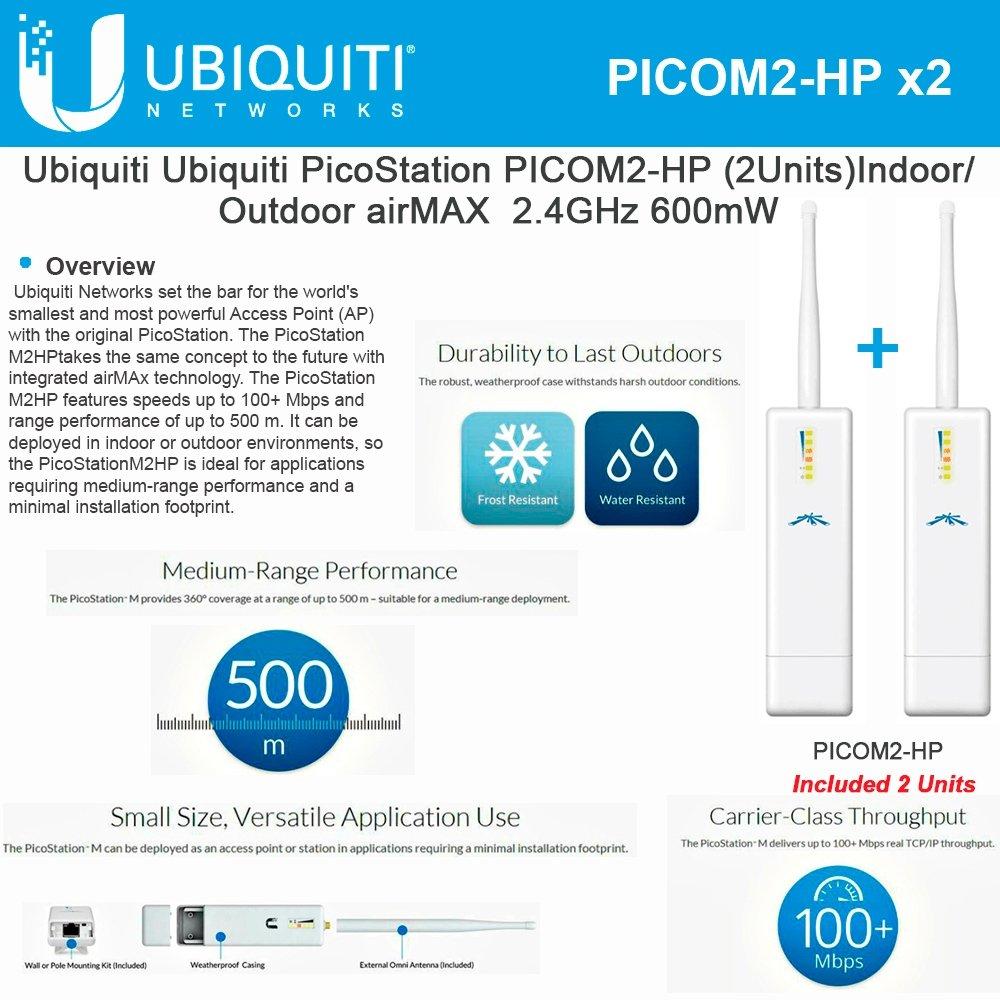 Ubiquiti PicoStation PICOM2-HP (2Units) Indoor/Outdoor airMAX 2.4GHz 600mW