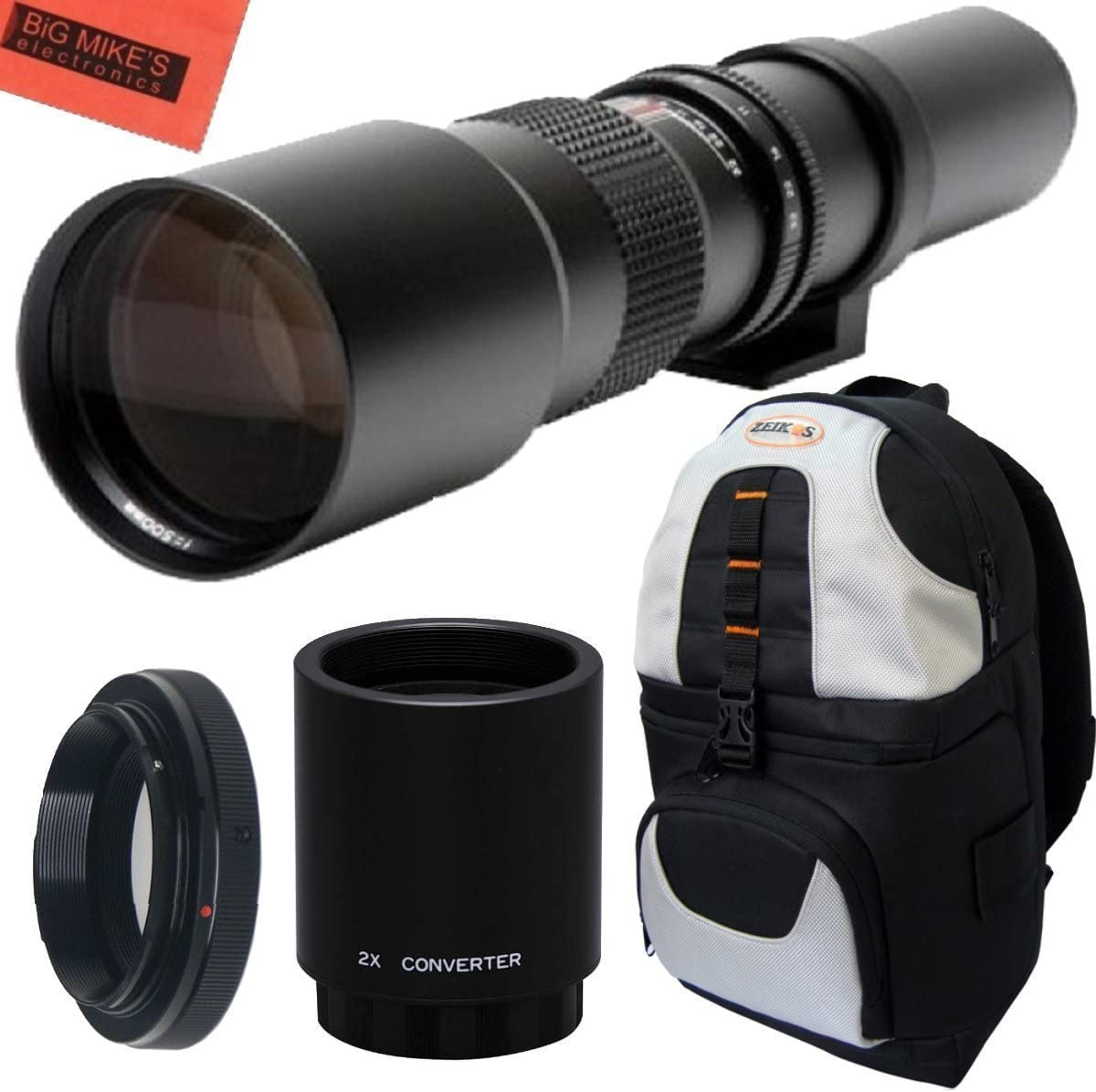 NEX-7 NEX-5T NEX-6 a7 a5000 a7s Deluxe SLR Backpack for Sony Alpha E-Mount a7r a6000 NEX-5N NEX-5R and NEX-3N High-Power 500mm//1000mm f//8 Manual Telephoto Lens a5100 a3000