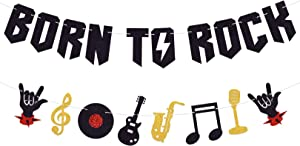 MAGBEA Born To Rock Party Decorations Born To Rock Banner - Musical Instruments Music Note Garland for 1950's Rock and Roll Music Themed 50s Vintage Rock Party Decoration Supplies