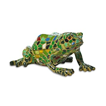 Resin Garden Frog Ornament Multi Coloured Mosaic Amazoncouk