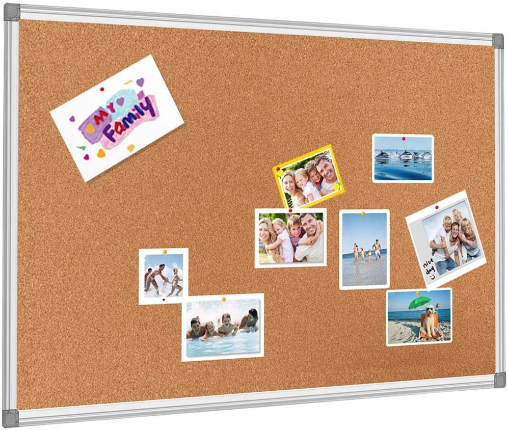BESTBOARD Cork Bulletin Board, Heavy Duty Corkboard for Homes or Offices, 36 x 48 inch, Silver Aluminum Frame