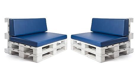 Conjunto colchonetas para sofas de palet y respaldos (2 x Unidades) Cojin relleno con espuma. Color Azul | Cojines para chill out, interior y ...