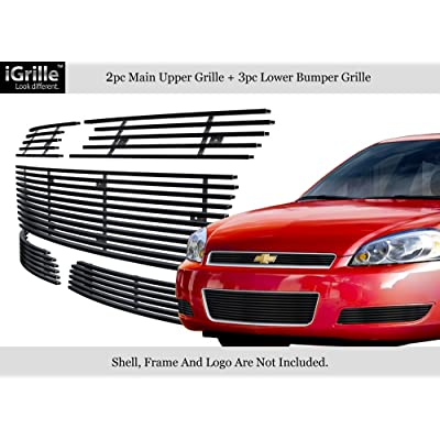 Fits 2006-2009 Chevy Impala Stainless Steel Black Billet Grille Combo