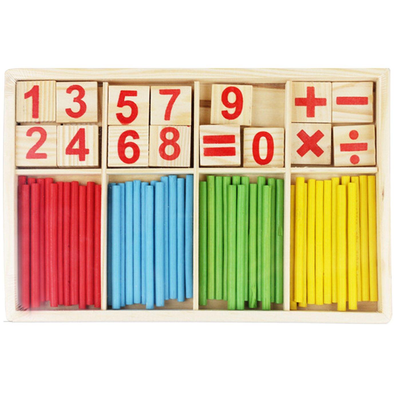 Meliya en bois numé rique comptage tiges coloré es et bâ tonnets pour apprendre Nombre Cartes Mathé matique Intelligence bâ ton Preschool Educational outils avec boî te
