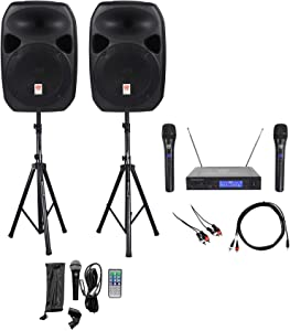 "Rockville Power GIG RPG-122K All In One DJ/PA Package (2) 12"" DJ/PA Speakers 1000 Watts Peak Power/250 Watts RMS with Built in Bluetooth, USB/SD Player, FM Tuner, Speaker Stands and a Wired Microphone"