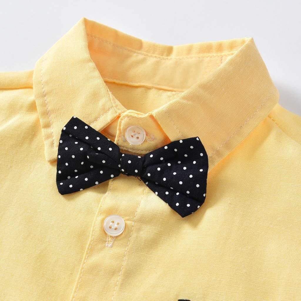 Baby Boys Gentleman Outfits,Jchen Summer Little Kids Boy Bow Tie Romper+Strap Shorts Suit Sets for 3-24 Months