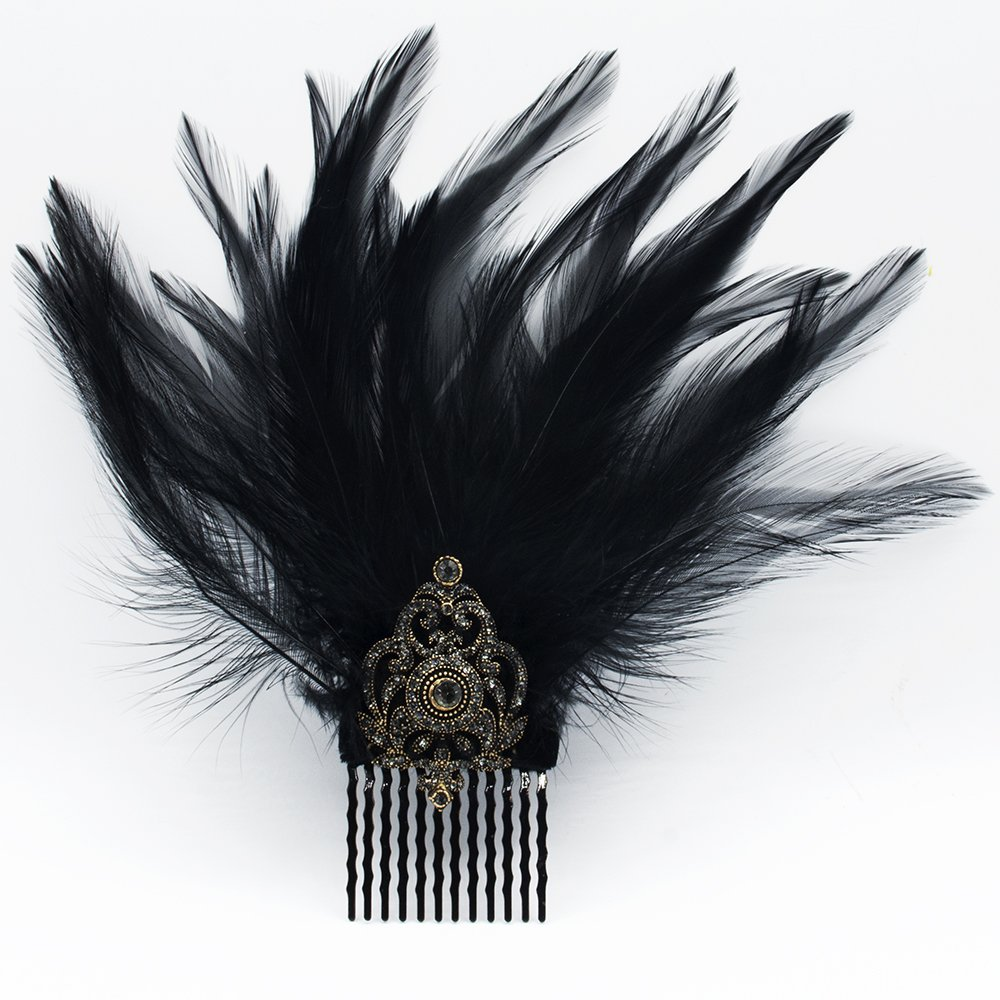 Hair Comb Slides, Fascinator, Hair Pin, Feather, Black Hair Accessories, Costume, Party Outfit, Cocktail Dress, Evening Dresses, Hair Jewelrry
