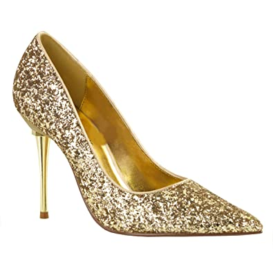 PleaserUSA Damen Stiletto High Heel Pumps Appeal-20G mit Metallabsatz Glitter gold