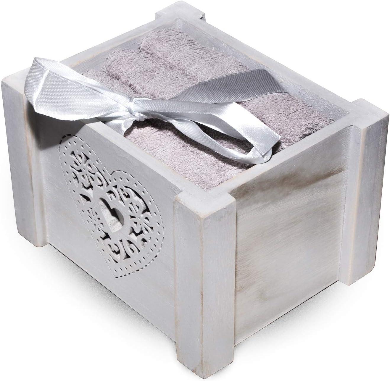 Mis.30x30 cm Lavette box2 Blanco raya Cotone Grigio Set 4 Lavette confezionate in Cofanetto di Legno