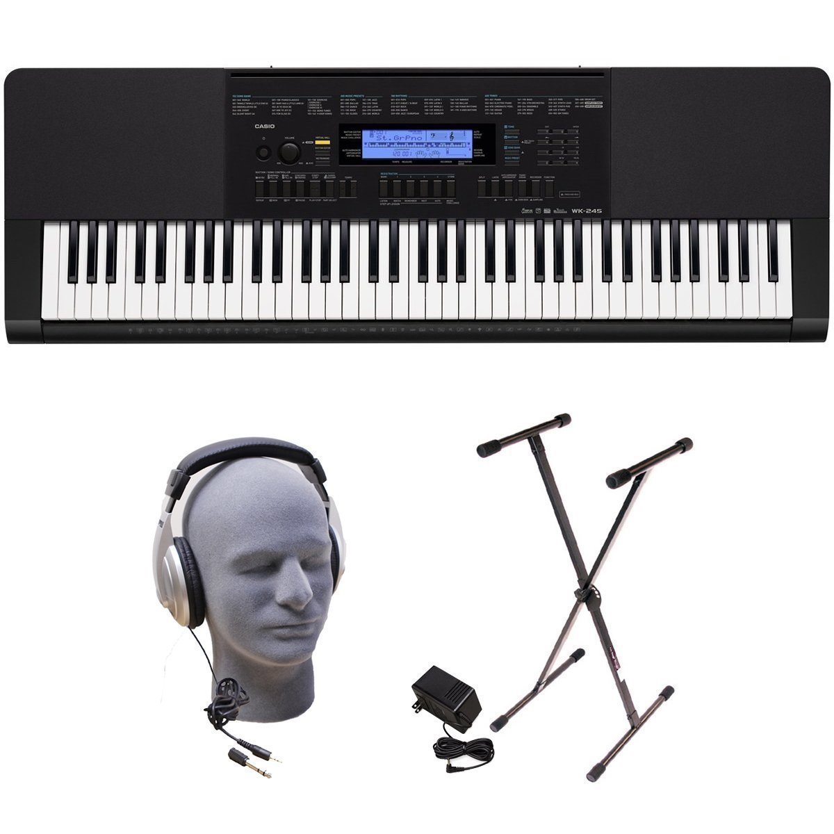 Casio WK-245 PPK 76-Key Premium Portable Keyboard Package with Headphones, Stand and Power Supply