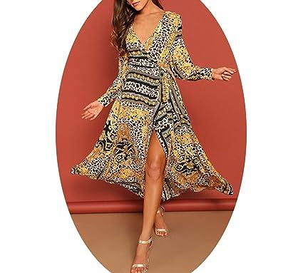 93d5a448 A.SEXY-JULY Leopard Print Self Belt Surplice Dress Women Spring High Waist  V Neck Beach Vacation Maxi Dresses at Amazon Women's Clothing store: