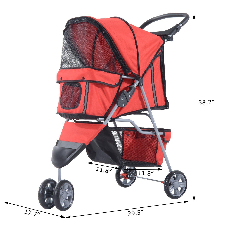 PawHut D00-041RD Deluxe Folding Pet Stroller 3 Wheel Dog Cat Carrier Strolling Jogger Red