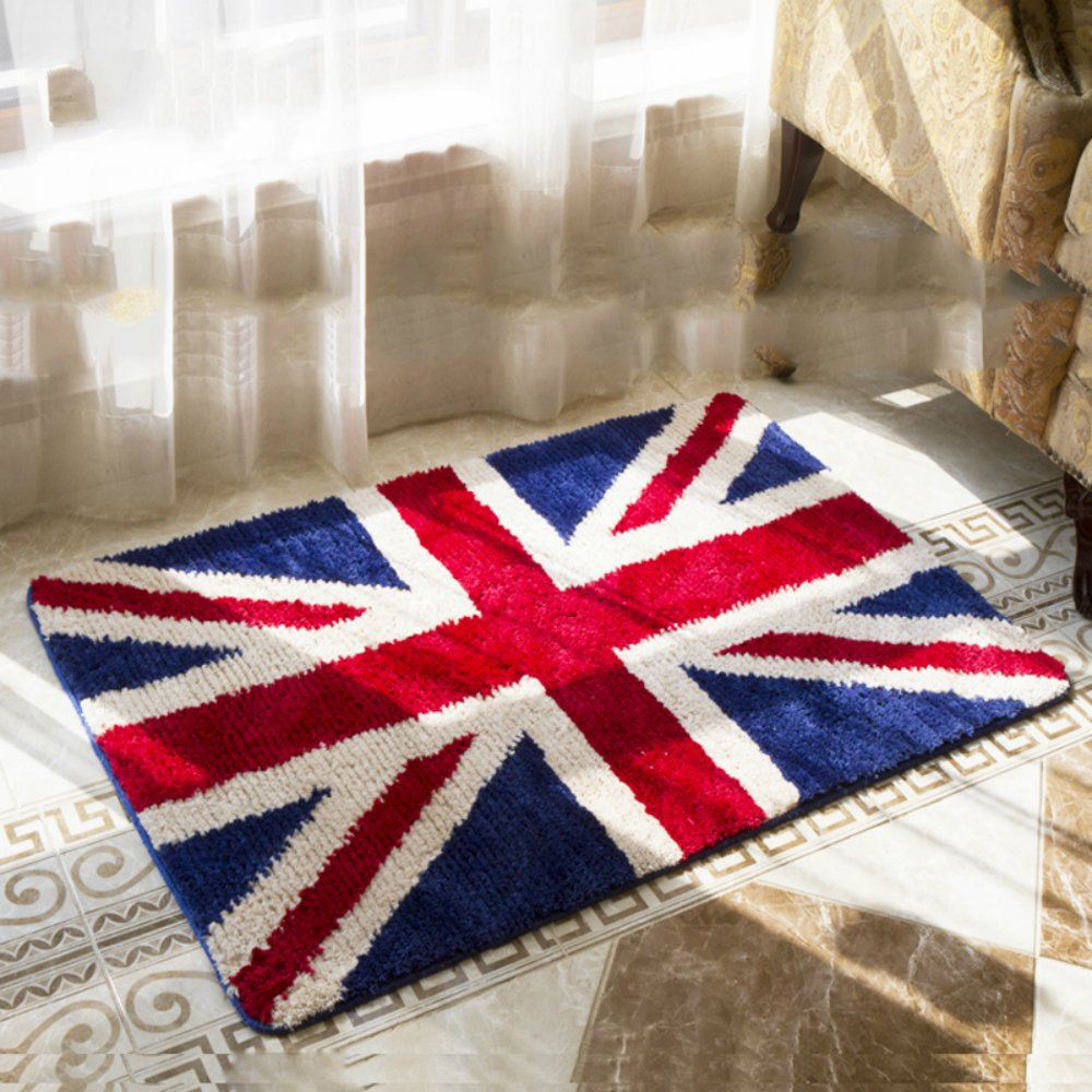 Sytian Nice Union Jack Rug Super Soft Absorbent Doormat Floormat Shaggy Area Rug Non Slip Bath Mat Bathroom Shower Rugs Carpet (British Style) (60x90cm) Stay Young Shower rug-62