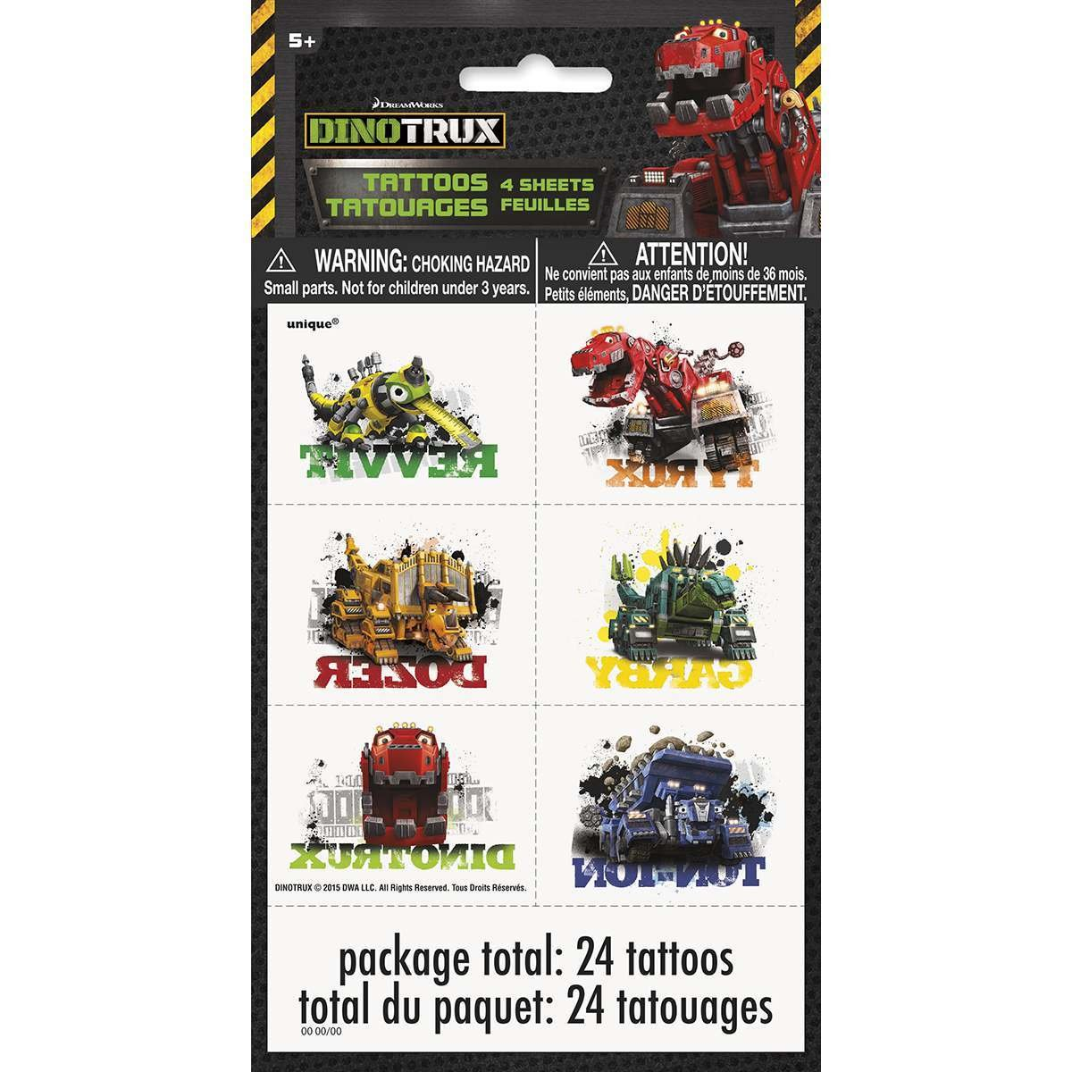 Dinotrux Tattoos, 24ct Unique Industries Inc. 42952