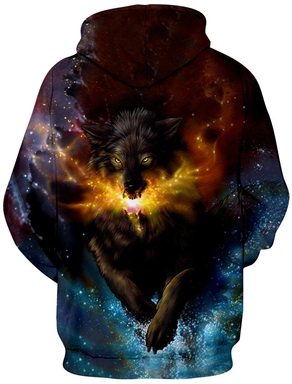 Causal Hoodie, RAISEVERNUnisex Lustige 3D Gedruckte Drawstring Wolf Glühwürmchen Kapuzenpullis Kangaroo Tasche mit Samt Plus Futter