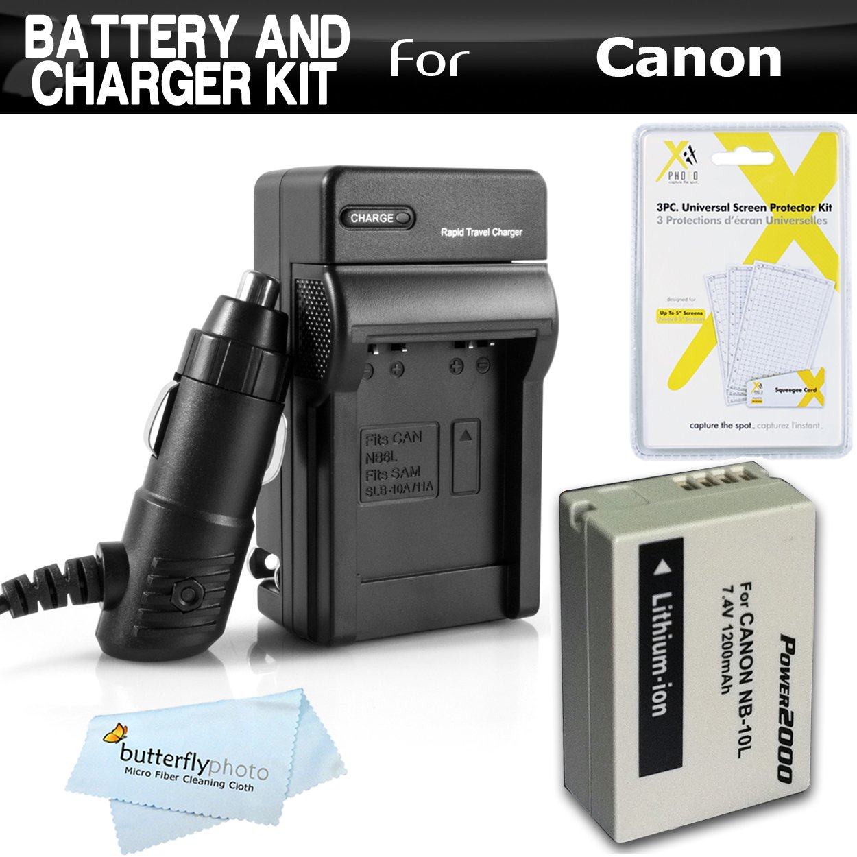Battery And Charger Kit For Canon PowerShot SX40 HS, G1 X, G1X, SX50 HS, SX50HS, Powershot G15, G16, SX60 HS, SX60HS, G3 X Digital Camera Includes Extended Replacement (1200Mah) NB-10L Battery + More