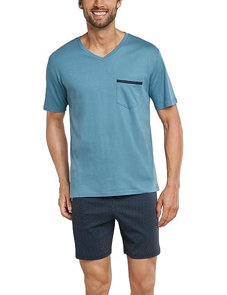 Schiesser Anzug Kurz, Pantalones de Pijama para Hombre, Azul (Blaugrün 817),