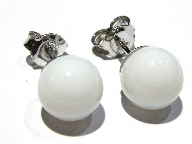 00404380775a pendientes ágata blanca bola mm 6 plata 925%  Amazon.es  Handmade