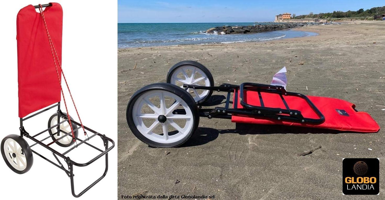 Carrello Mare con Ruote Color Rosso Trolley Beach Carrellino Porta Ombrellone e Oggetti per la Spiaggia