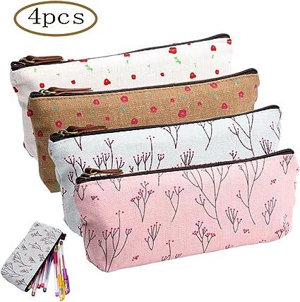 MINGZE 4 piezas caja de lápiz portalápiz,Lona Bolígrafo Estuche de lápices, papelería Bolsos cosméticos Estuche floral fresco: Amazon.es: Oficina y papelería