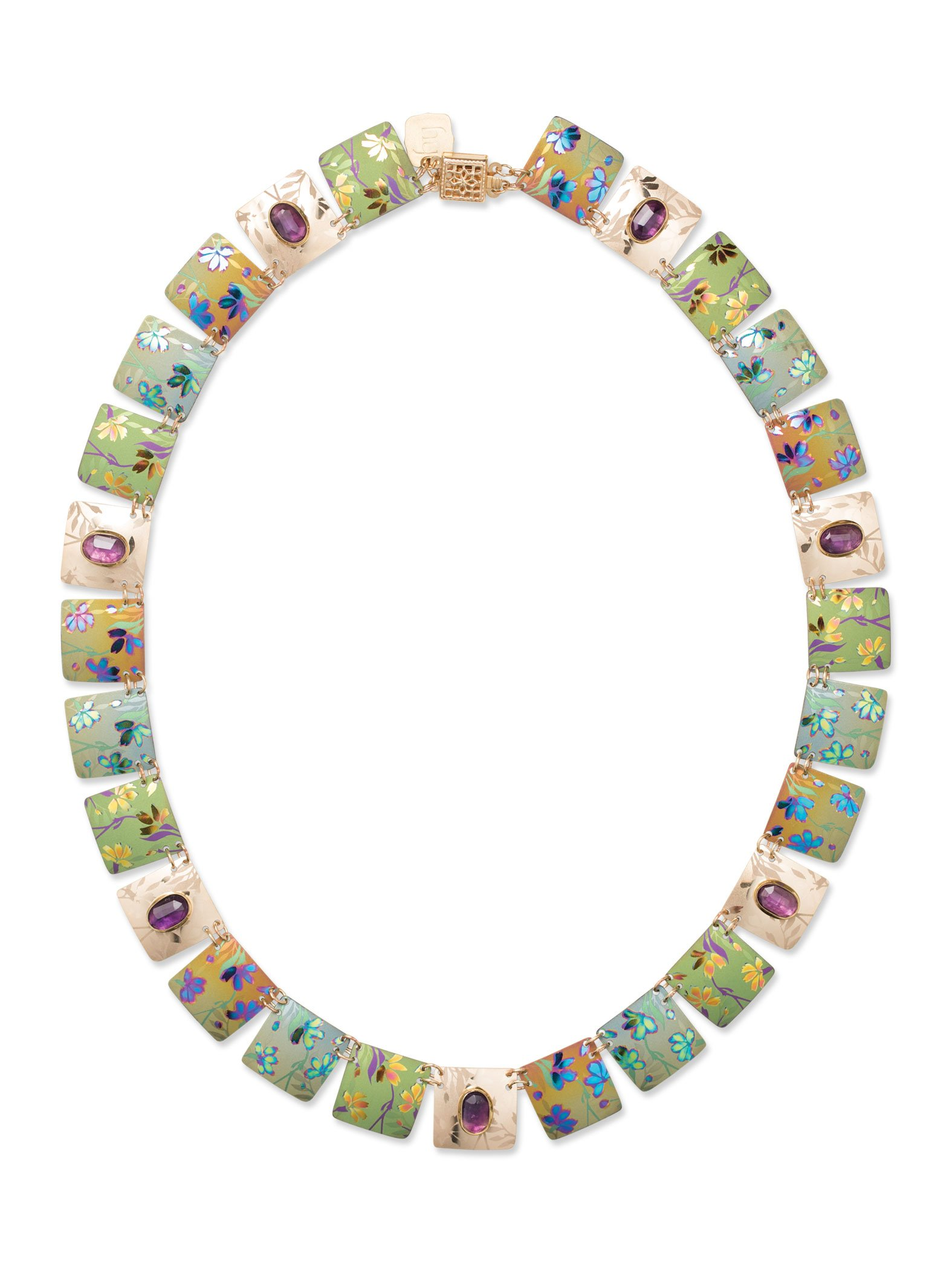 Holly Yashi Garden Sonnet Collar Necklace, Made in California (Amethyst/Multi)