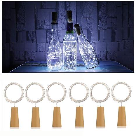 AnSaw Spark I - Juego de luces para botellas de vino, diseño con corcho,