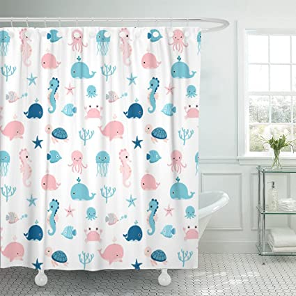 Amazon Emvency Shower Curtain Kids Cute Summer Sea Animals In