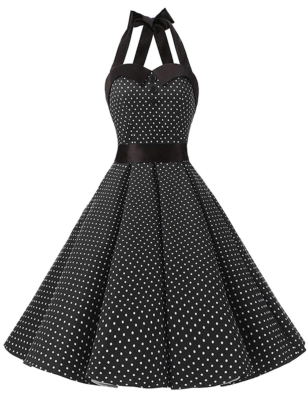 Black and White Big Dot Bi.tencon 1950s Halter Style Vintage Polka Dot Swing Party Dress