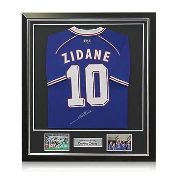 Deluxe Enmarcado Firmado Zinedine Zidane Francia 1998 camiseta de fútbol de lujo enmarcado con incrustaciones de