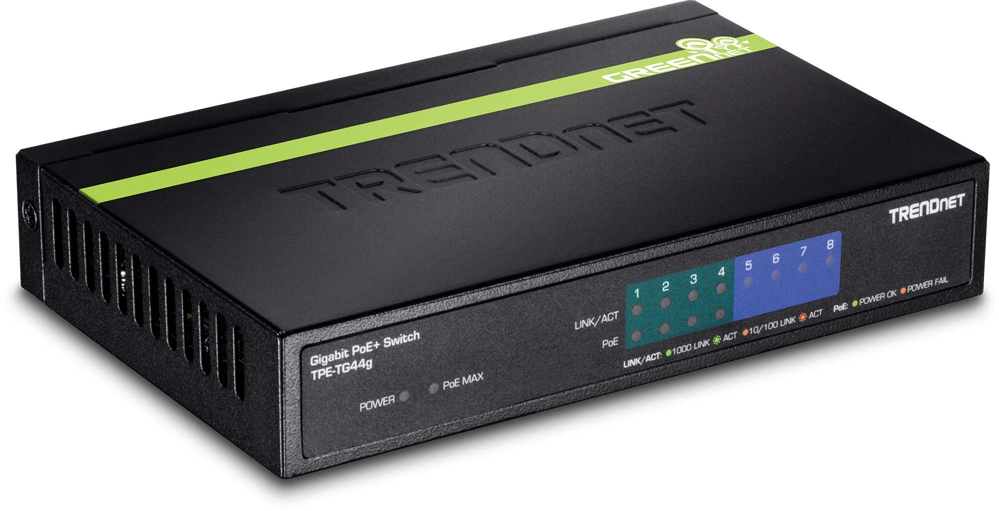 TRENDnet 6-Port Fast Ethernet PoE+ Switch, TPE-S50, 4 x Fast Ethernet PoE+ Ports, 2 x Fast Ethernet Ports, 60W PoE Budget, 1.2 Gbps Switch Capacity, Ethernet Network Switch, Metal, Lifetime Protection by TRENDnet