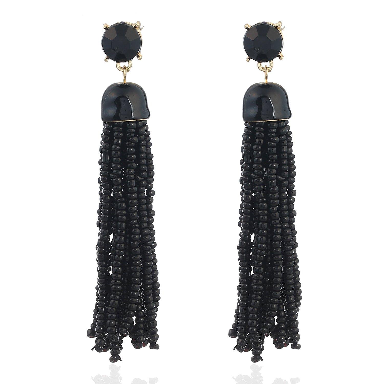 D EXCEED Women's Bohemian Tassel Earrings Long Statement Earrings Black Seed Bead Fringe Dangle Earrings for Her