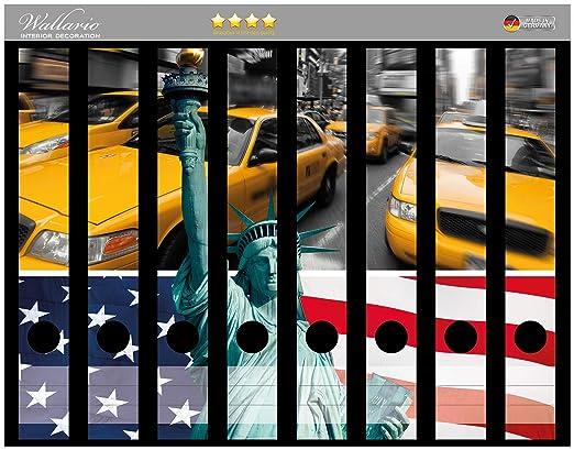 Lomo de archivadores Pegatinas NEW YORK Collage en Premium ...
