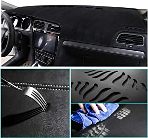 Muchkey Suede Car Dash Board Cover Mat Fit for Lexus ES350 2007-2012 Trim: Base,Dashboard Protector,Easy Installation,White line