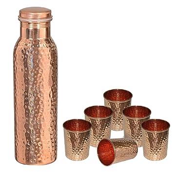 DakshCraft ® de cobre puro martillado con estilo Conjunto Agua Botella libre para los beneficios del