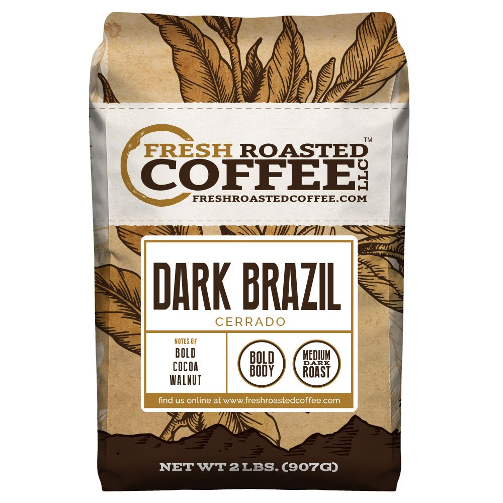 Dark Brazilian Cerrado Coffee, Whole Bean Bag, Fresh Roasted Coffee LLC. (2