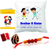 Printelligent Rakhi Gift for Sister & Brother Rakhi Themed Combo of Cushion Cover & Greeting Card Artificial Naariyal Rakhi Roli Chawal Gift