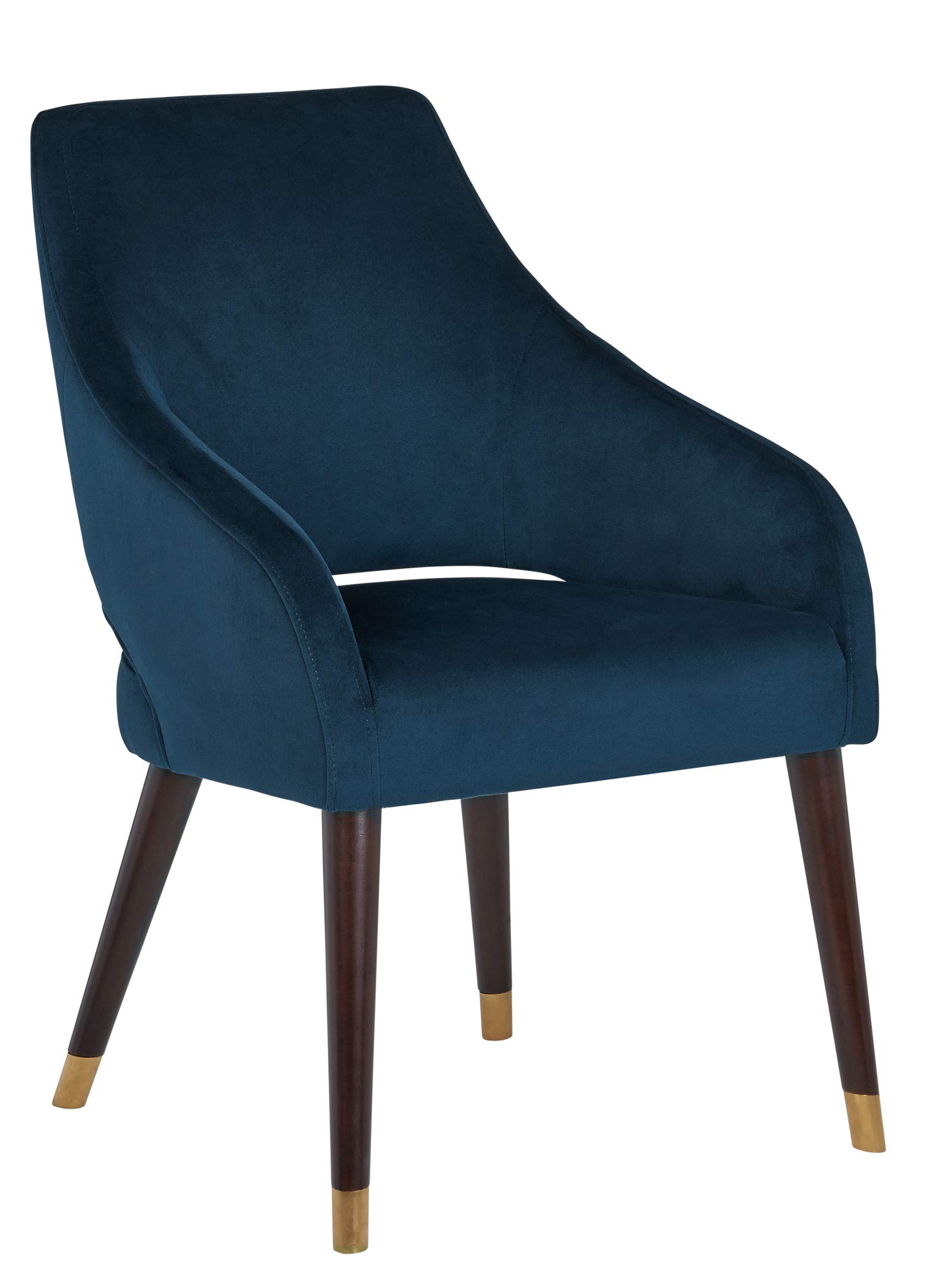 "Rivet Fir Mid-Century Modern Dining Chair, 35""H, Blue - This velvet chair will bring mid-century modern flair to your dining room. Sloping low-profile arms, the open space in the lower back, and tapered wooden legs are hallmarks of retro style, while the gold foot caps and rich colors add glam effects. 23.6""W x 24.8""D x 35.4""H; Seat Height: 19.2""H ; Seat Depth: 17.7""D; Seat Back Height: 15.7""H; Arm Height: 23.2""H Velvet upholstery on wood frame and legs - kitchen-dining-room-furniture, kitchen-dining-room, kitchen-dining-room-chairs - 71BzGtO2CML -"
