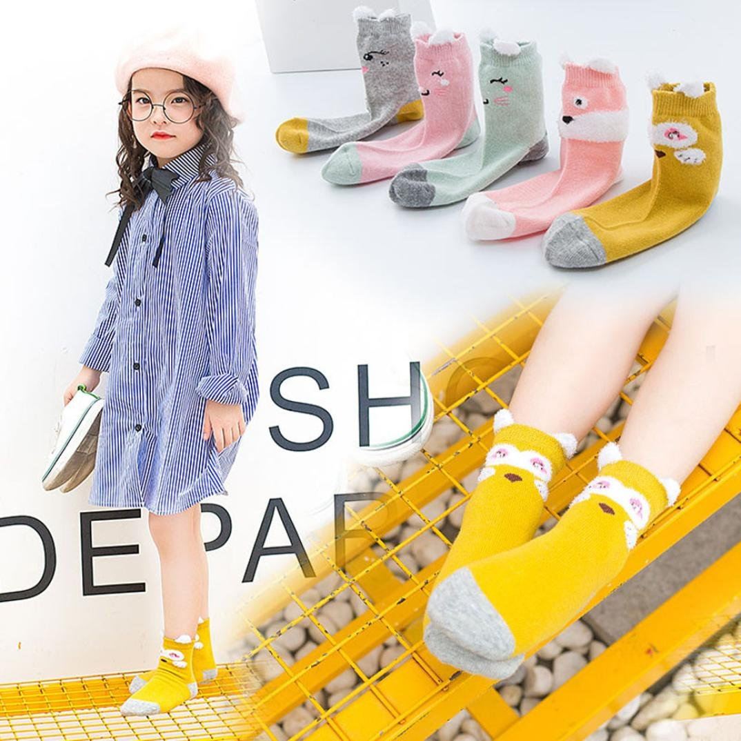 Remiel Store 5 Pairs Infant Children Kids Baby Girls Printed Warm Cotton Cute Socks